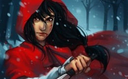 Girl with a katana in a red cloak, fantasy artwork