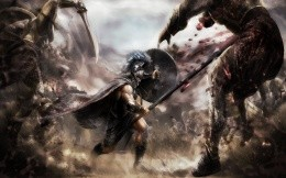 Gladiator fighting against the giants on the battlefield