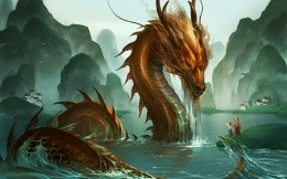 Golden Chinese Dragon in the river