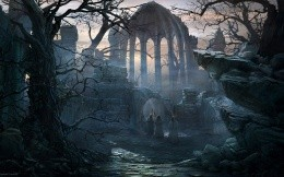 Ruined temples and monks, wallpaper for your desktop on your fantasy.