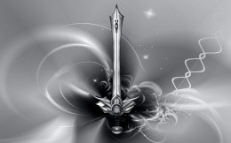 Sword + a bit of abstraction, wallpaper, fantasy, gray, black, white