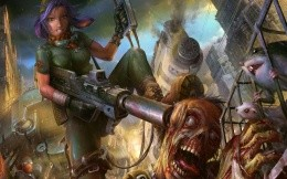 The girl with a huge gun and zombies