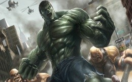 The Incredible Hulk green, art with a superhero