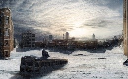 The snow-covered city of the future, fantasy wallpaper