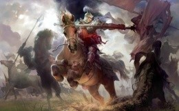 Warrior on horseback spearing the enemy, a beautiful painting