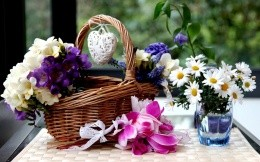 Beautiful flowers and a basket