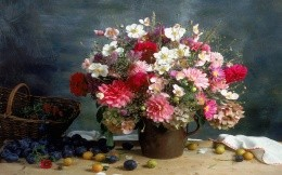 Flowers and fruit on the table, still life photo