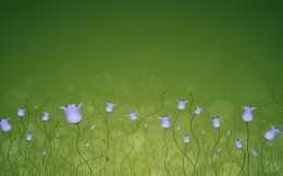 High-quality wallpaper with hand drawn flowers bells on a green background