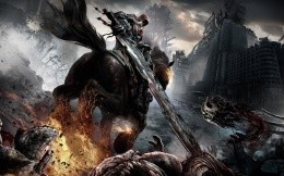 A warrior with a two-handed sword, a horse, art for the game Darksiders