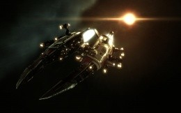 Amarian Combat Interceptor from play MMORPG Eve online.