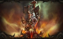 Art wallpaper with the barbarian of the game Diablo 3