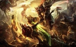 Art wallpaper with the battle of the game League of Legends