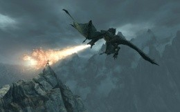 Dragon breathing fire, the game TES 5 Skyrim