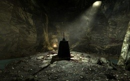 The Sword in the cave, the scene of the game Skyrim