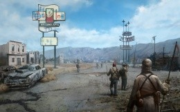 View of the New Vegas game of Fallout, painted screen saver on your desktop