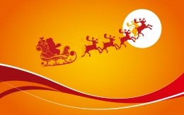 Abstract wallpaper with Santa Claus in a sleigh reindeer sleigh