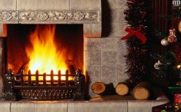 Fireplace and Christmas tree, Christmas wallpapers.