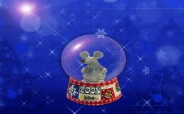 New year wallpapers, 2008, a rat or a mouse in a glass sphere.