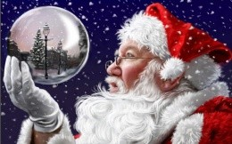 Santa looks at the ball