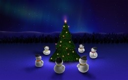 Snowmen around the Christmas tree