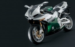 Silvery-green motorcycle Benelli, wallpaper for your desktop.
