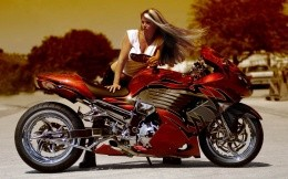 The girl in a red motorcycle