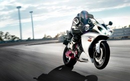 Yamaha sport bike on the track