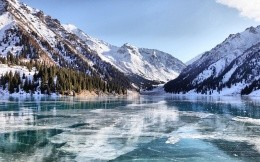 Frozen mountain lake