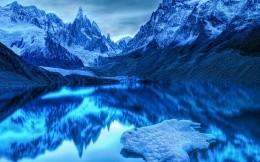 Lake in the snowy mountains