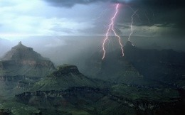 Lightning in the mountains