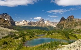Photo of beautiful mountains and foothills of the lake