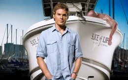 Dexter Morgan near his yacht, the hero of the series Dexter.