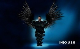 Dr. House with black wings entwined snakes