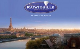 Ratatouille cartoon image with views of France, Cartoon Ratatouille
