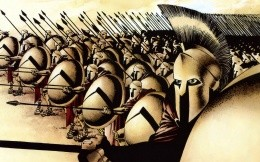 The artwork on the theme of the film The 300 Spartans