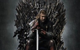The main character of the series: Game of Thrones, the iron throne with a sword