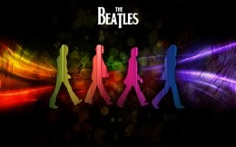 Bright wallpaper with silhouettes of musicians of The Beatles