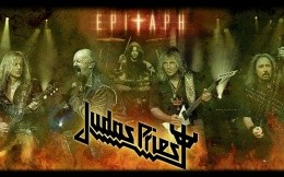 Judas Priest, photo wallpaper with the legendary rock band, collage