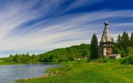 Ancient Russian architecture by the river