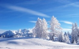 Beautiful winter scenery and ski slope