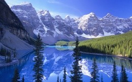 Crystal clear, nature, mountains, forest and lake