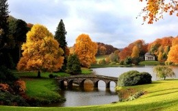 England Autumn Bridge Lake