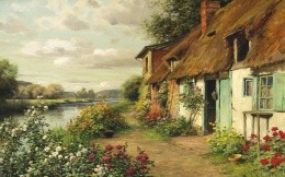 house by the river-painting
