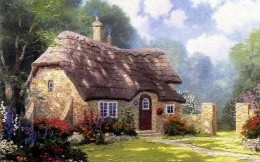 Landscape painting brick house
