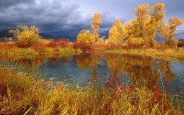 The lake and the gloomy sky, wallpaper, autumn, nature.