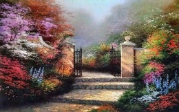 Thomas Kinkade - a beautiful country estate garden