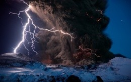 volcano, ash, storm, lightning, natural disaster