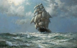 A painting of the ship, the artist Montague Dawson