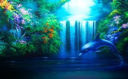 Art work - painted wallpaper, waterfall and dolphin.