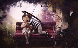 Baby love, boy and girl on a bench